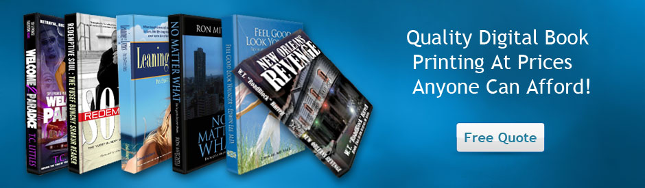 We offer the highest quality digital book printing at prices anyone can afford, paperback,soft bound,booklets,saddle stitch,black and white or full color.